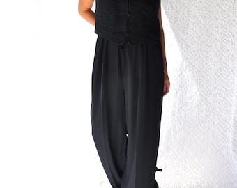 80s Shelli Segal Black Jumpsuit. Wide Leg Pants & Vest | Black Palazzo Pant Jumpsuit. Retro High Waist Jump Suit. Little Black Dress | l. xl
