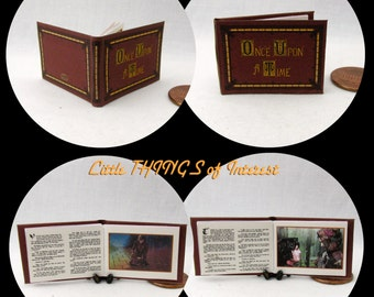 1:12 Scale ONCE UPON A Time Book Of Fairy Tales Miniature Book Dollhouse 1 Inch Scale Book