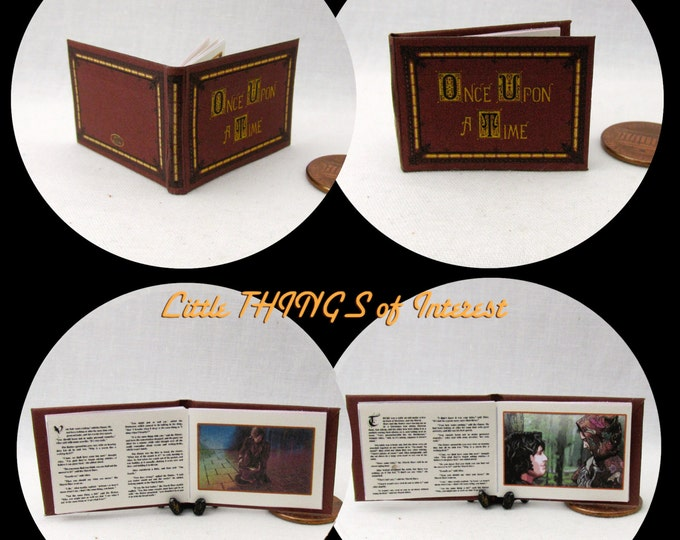 ONCE UPON A Time Book Of Fairy Tales 1:12 Scale Miniature Book Dollhouse 1 Inch Scale Book
