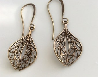 Brass Filigree Earrings  Bohemian Earrings  Filigree Leaf Earrings  Boho Earrings  Antiqued Brass Earrings  Gypsy Dangles