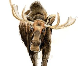 Moose Watercolor Painting, Animal Art, Moose Painting, Moose Watercolor, Moose Art, Nursery Art, New England Art, Forest Animal Art