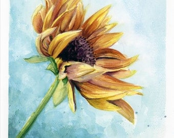 ORIGINAL Sunflower Watercolor Painting, Original Painting, Sunflower, Watercolor Painting, Flower Painting, Sunflower Wall Art, Flower Art