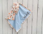 """Sports Theme Personalized Baby Boy Flannel Blanket with Name- Perfect for Baby Shower Gift, New Baby Girl, Tummy Time and Swaddle 38""""X38"""""""