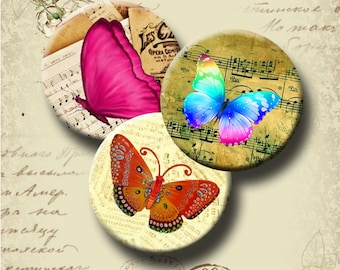 BUTTERFLY CONCERTO  Digital Collage Sheet  1 & 1.5 inch round images for pendants, bottle caps, magnets, etc.  Instant Download #26.