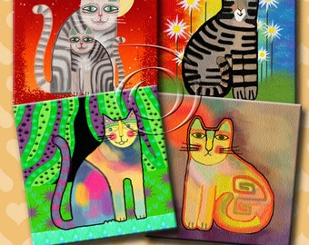 FUNKY CATS -  Printable Digital Collage Sheet 12 X 4 inch squares for Coasters, Greeting Cards, Gift Tags.  Instant Download #213.