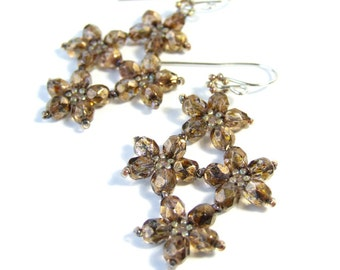Glass Flower Earrings, Brown Earrings, Floral Jewelry, Sparkly, Beadwork, Sterling Silver, Gift For Her, Unique Handmade Jewelry, Dangle