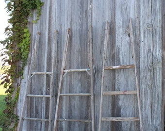 You GET 3 Antique Ladder Backs for Crafts - Rustic Wood - Crafters Special