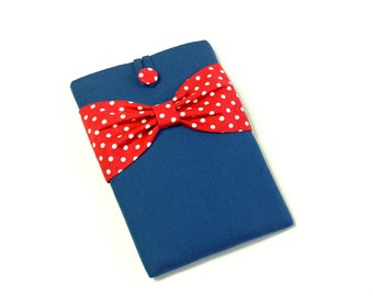 """iPad Case, iPad Air 2 Case, iPad Sleeve,Custom Cover for Any 7-10"""" Reader or Tablet,SUPERIOR Shock Absorbent Padding-Blue,Red Polka Dots Bow"""