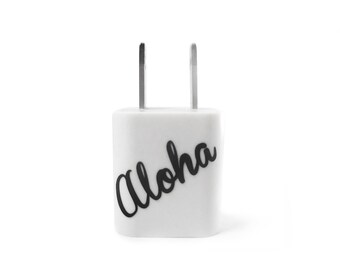 Aloha USB Wall Adapter - iPhone Cube Converter - Hawaii Travel Charger - Smartphone Android USB A/C Adapter - Hawaiian Inspired Charger