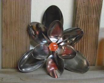 Vintage handmade spoon flower, vintage spoons welded into a flower, vintage kitchen decor, retro kitchen decor, unique kitchen decor, spoons