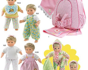 """15"""" Baby Doll Clothes, Blanket  and Back Pack Doll Carrier Pattern"""