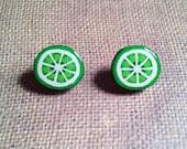 Lime Earrings, Lime Stud Earrings, Green Earrings, Food Earrings, Fruit Earrings, Large Fruit Studs, Statement Earrings, Large Studs