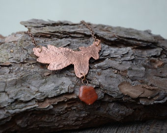 oak leaf necklace with brown bead gift for girlfriend copper electroplated necklace nature jewelry