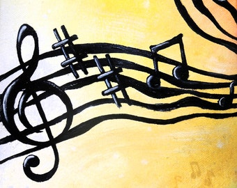 Music is the Voice of the Soul Part 1 Print of Original Oil Painting by Lindsey - Tryptic Painting