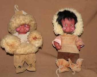 Vintage Eskimo/Inuit Dolls with Authentic Shearling Coats - Canada