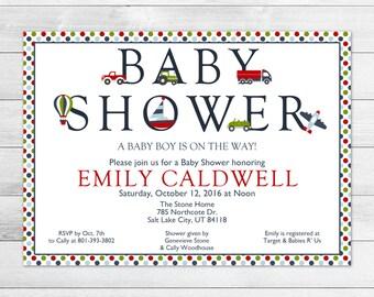 Transportation Baby Shower Invitation - Boy Printable, Digital Baby Shower Invite File - Vehicles, Car, Airplane, Boat