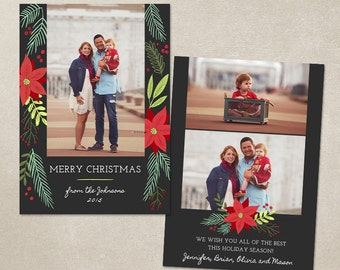 50% SALE Christmas Card Template -  Photoshop template 5x7 flat card - Christmas Foliage CC103 - INSTANT DOWNLOAD
