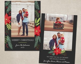 Christmas Card Template -  Photoshop template 5x7 flat card - Christmas Foliage CC103 - INSTANT DOWNLOAD