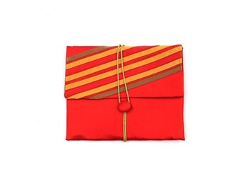 silky red clutch / striped clutch bag / red purse