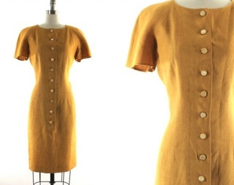 Valentino yellow dress • yellow linen dress • button front dress M