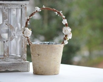 birch flower girl basket, rustic flower girl bucket, birch wedding decor, shabby chic wedding