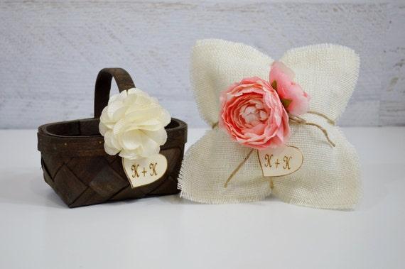 Flower Girl Basket Ring Bearer Pillow Set Rustic Wedding Basket And