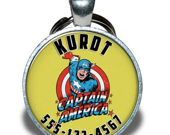 Pet ID Tag - Captain America *Inspired* - Dog tag, Cat Tag, Pet Tag
