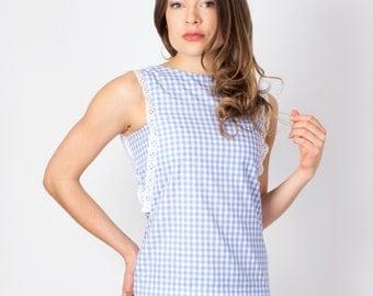 Blue Gingham Blouse, Light Blue Gingham Shirt, Blue Plaid Top, Checkered Shirt, Summer Top, Cute Top, Light Blue Top, Cotton Shirt, Pretty