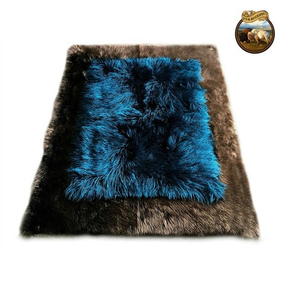 Teal & Chocolate Faux Fur Rug by FurAccents
