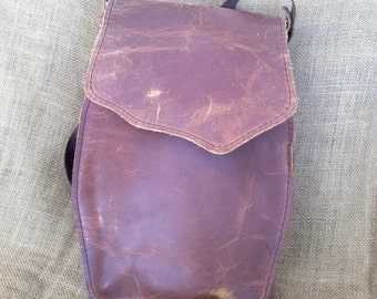Vintage leather shoulder bag hand made USA messenger sling