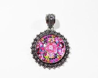 Pink Flower Glass Pendant, Sterling Silver Mandala Pendant, 49x35mm, Hippie Flowers Necklace, Bohemian Boho Jewelry, Boho Sterling Pendant