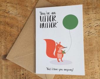 Valentine Card / valentine card for boyfriend Card / valentine card for girlfriend Card / Squirrel Card / love card