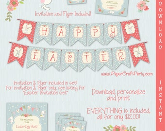 Easter Printable Party Kit | Easter Egg Hunt | Easter Invite & Decorations | INSTANT DOWNLOAD Edit in Adobe Reader | Easter Flyer