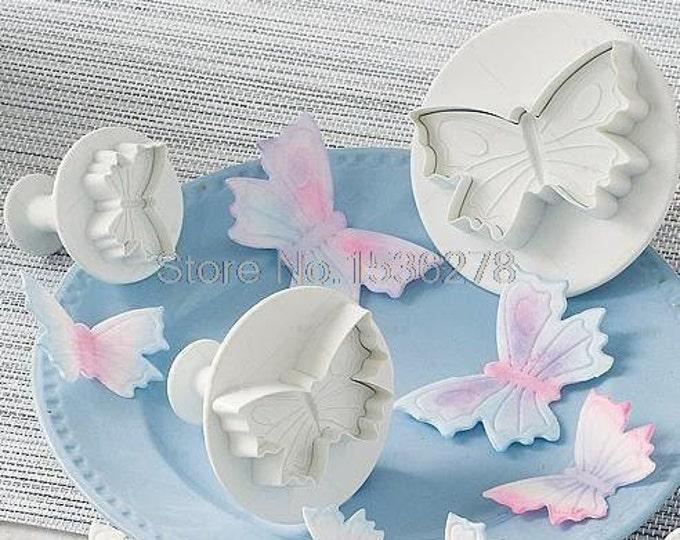 3 pc Butterfly Cookie Cutter Plunger Mold Set - Spring Summer Garden Candy Fondant Cutter