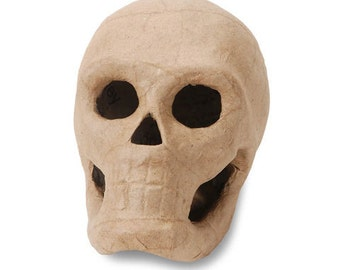 Paper Mache Skull Halloween - 5 inches- 3D Unfinished Craft Halloween Shape - Home Decor