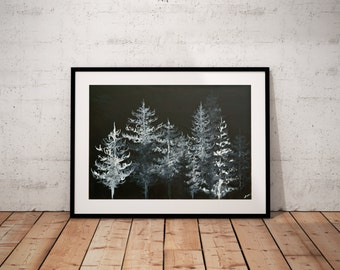 Black Trees Art Print, 8x10  11x14  16x20  20x24, Unframed