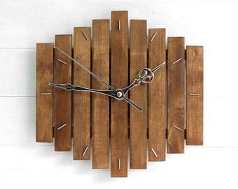 Wooden Wall Clock Romb I Rustic Kitchen D Cor Unique Clock Kitchen