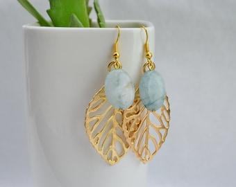Earrings aquamarine ear - golden leaf