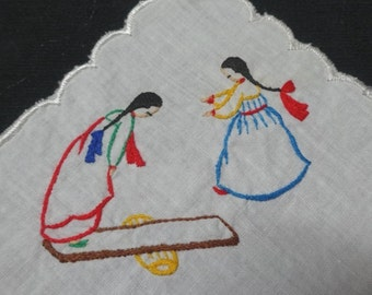 1970s Vintage Handkerchief with Hand Embroidered Ladies on a See-Saw, Oriental Style with Partial Scalloped Border, White Cotton, 8.75 In.