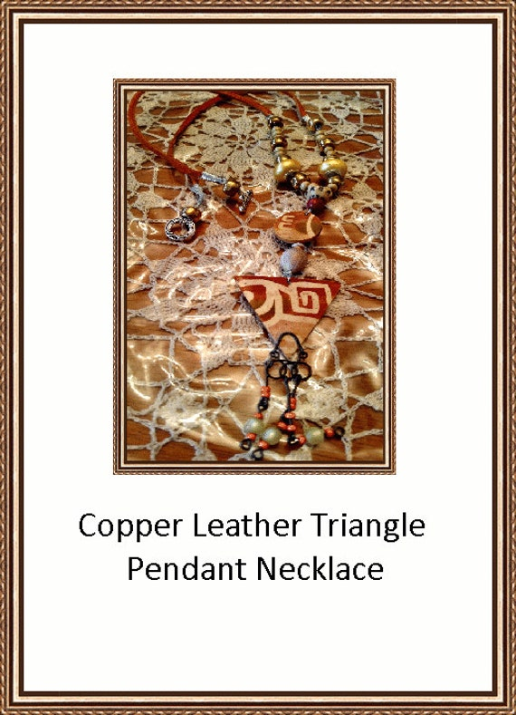 Copper Leather Triangle Pendant Necklace