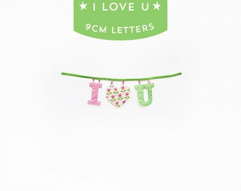 Handmade 'I LOVE U' Fabric Garland