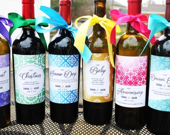 Wedding Wine Labels // Wedding Firsts // Milestone Wine Labels // Year of Firsts // Newlywed Gift // Wedding Shower Gift // Wedding Gift