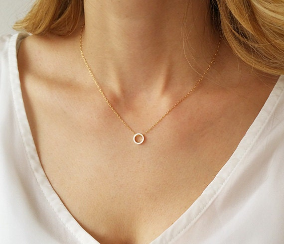 dainty circle necklace karma necklace gold circle necklace. Black Bedroom Furniture Sets. Home Design Ideas