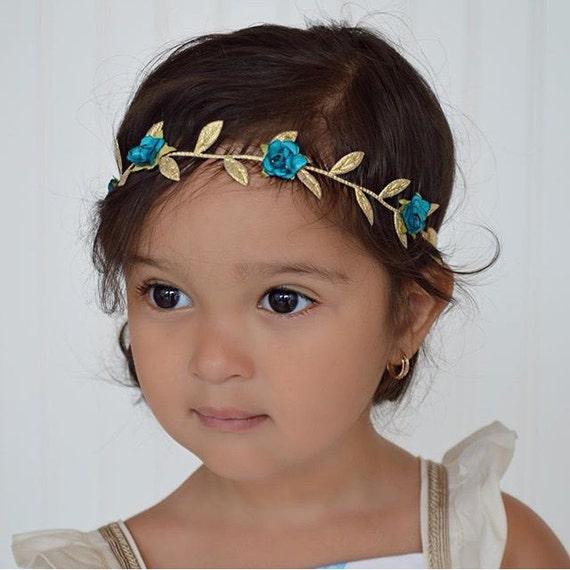 Baby Girl, Baby Girl Headband, Blue Greek Headband, Grecian Headpiece, Greek Headband, Baby Headband, Flower Girl Wedding, Flowers Headband
