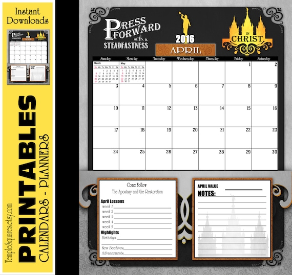 Printable YW Presidency 2016 jpg and Editable pdf Calendars Planners. Bundle of 12 months. Press Forward Theme Monthly Chalkboard LDS Temple