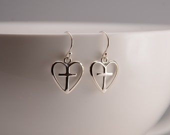 Sterling silver heart cross earrings. Heart cross charm earrings. First Communion gift.