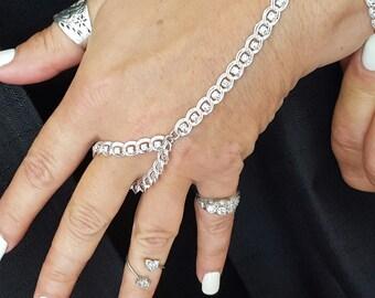 Tennis  genunine crystals hand designed bracelet  Sterling Silver electroplate