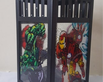 Hand Painted, Marvel's Superhero Stained Glass Candle Lantern, Iron Man, Hulk, Hawkeye and Spider-Man, Lamp, LED, Gift for Him, Christmas