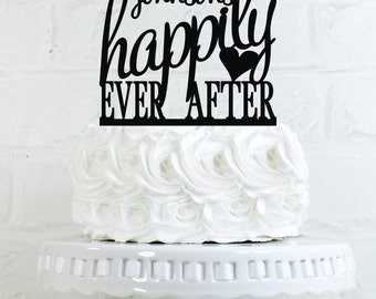 Happily Ever After Cake Topper Personalized with YOUR LAST NAME - perfect for Weddings, Bridal Showers, and Anniversaries