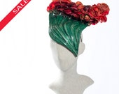 HOLIDAY SALE! Red and Green Floral Fascinator, Dramatic Racing Hat